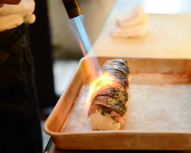 Have you ever seen grilled sushi?  Mackerel sushi, loved by the Japanese.