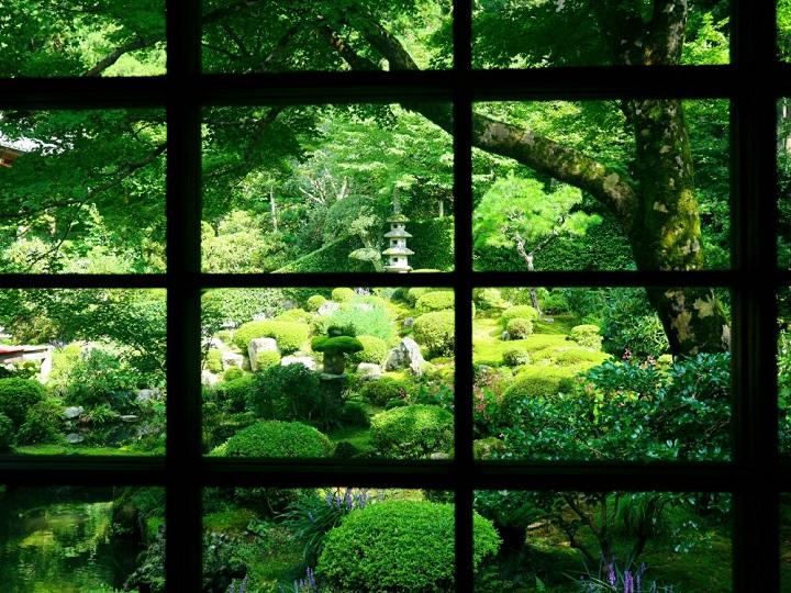 森と一体化した庭園