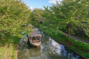從運河上眺望伏見的景色「伏見十石舟・三十石船」