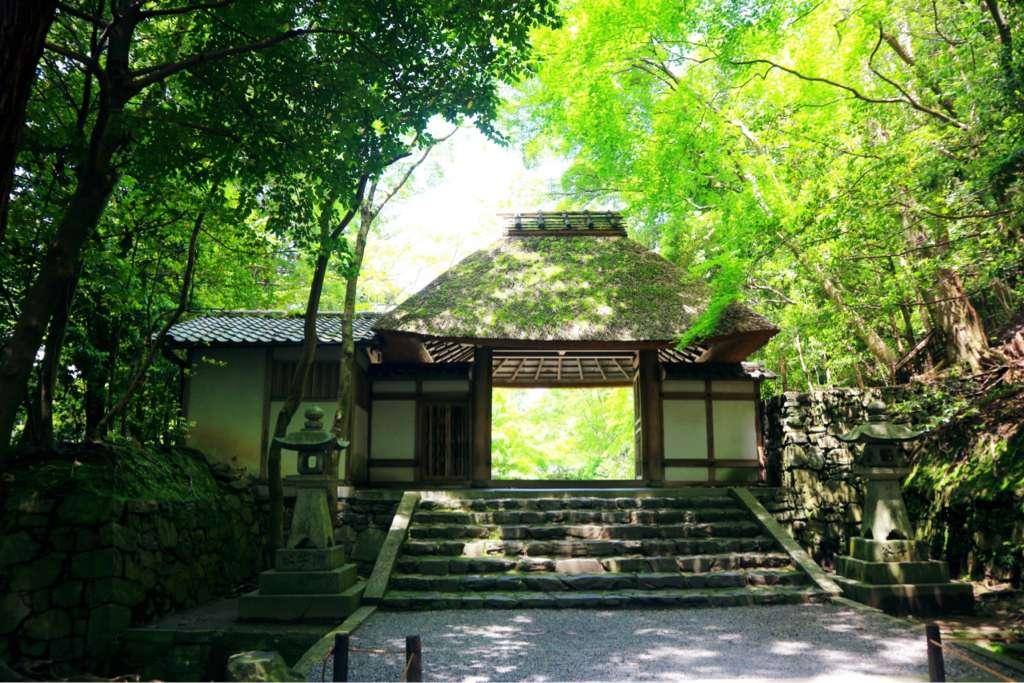 """平靜寂靜蔓延在整個院內,有著獨特的茅葺屋頂的山門""""法然院"""""""