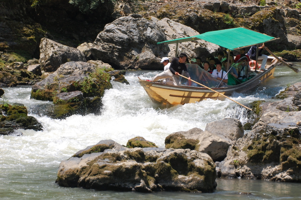 The thrilling and exciting rapid spot in Hozugawa river